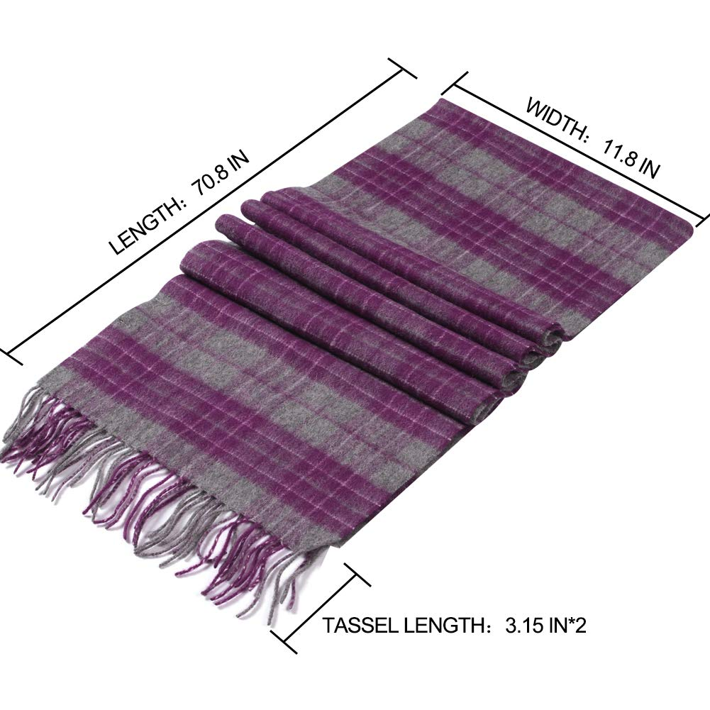 WAMSOFT 100/% Pure Wool Scarf Plaid Tartan Warm Fashion Long Winter Scarves for Men Women