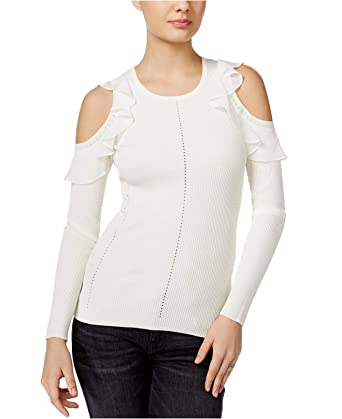 0544c2a65bbc1d Guess Womens Ruffled Cold-Shoulder Sweater XL Scuffy at Amazon Women's  Clothing store: