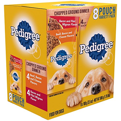 Pedigree Chopped Ground Dinner 8 Pouches Variety Pack 4-Bacon and Filet Mignon Flavor, 4- Beef,Bacon and Cheese Flavor
