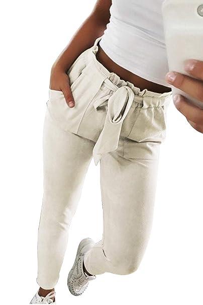 c208bdc83ca6 Dritti Pantaloni a Sigaretta Vita Alta con Cintura Casuale Skinny Matita  Pantalone Cropped Motivi a Righe