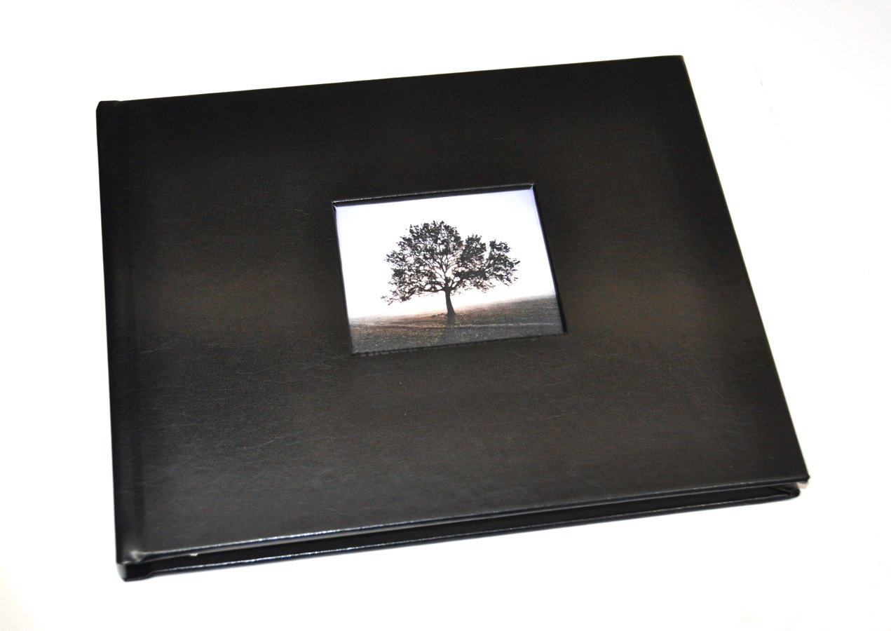 Guest Book with Photo Frame Cover & Lined Pages - Black Leather