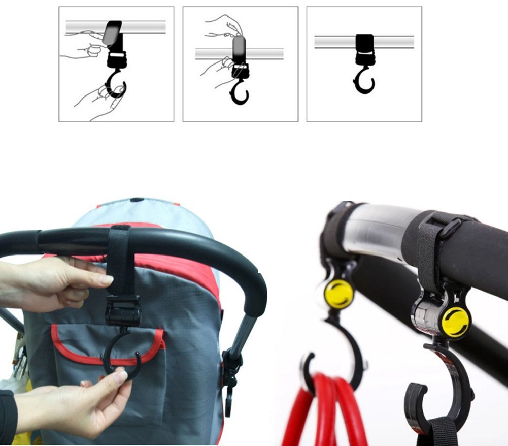 RICHEN Mommy Hook Black,4-Pack Mommy Hook Stroller Hanger Baby Stroller Hook Set Mom, Great Stroller Organizer Accessories for Hanging Diaper Bags,Groceries,Purses and More (Hook) by Richen (Image #3)