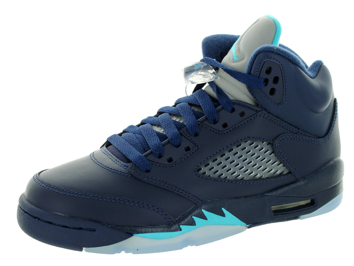 AIR JORDAN [440888-405] AJ 5 Retro (BG) Grade School Shoes Midnight Navy Turquoise Blue Hornets by NIKE
