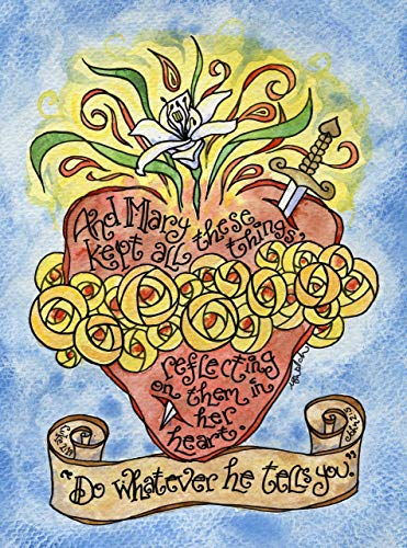 (8x10 Immaculate Heart Catholic Art Print with Scripture, Hand-Drawn, Watercolor with Luke 2:19 and John 2:5; Wedding, Anniversary, Confirmation)