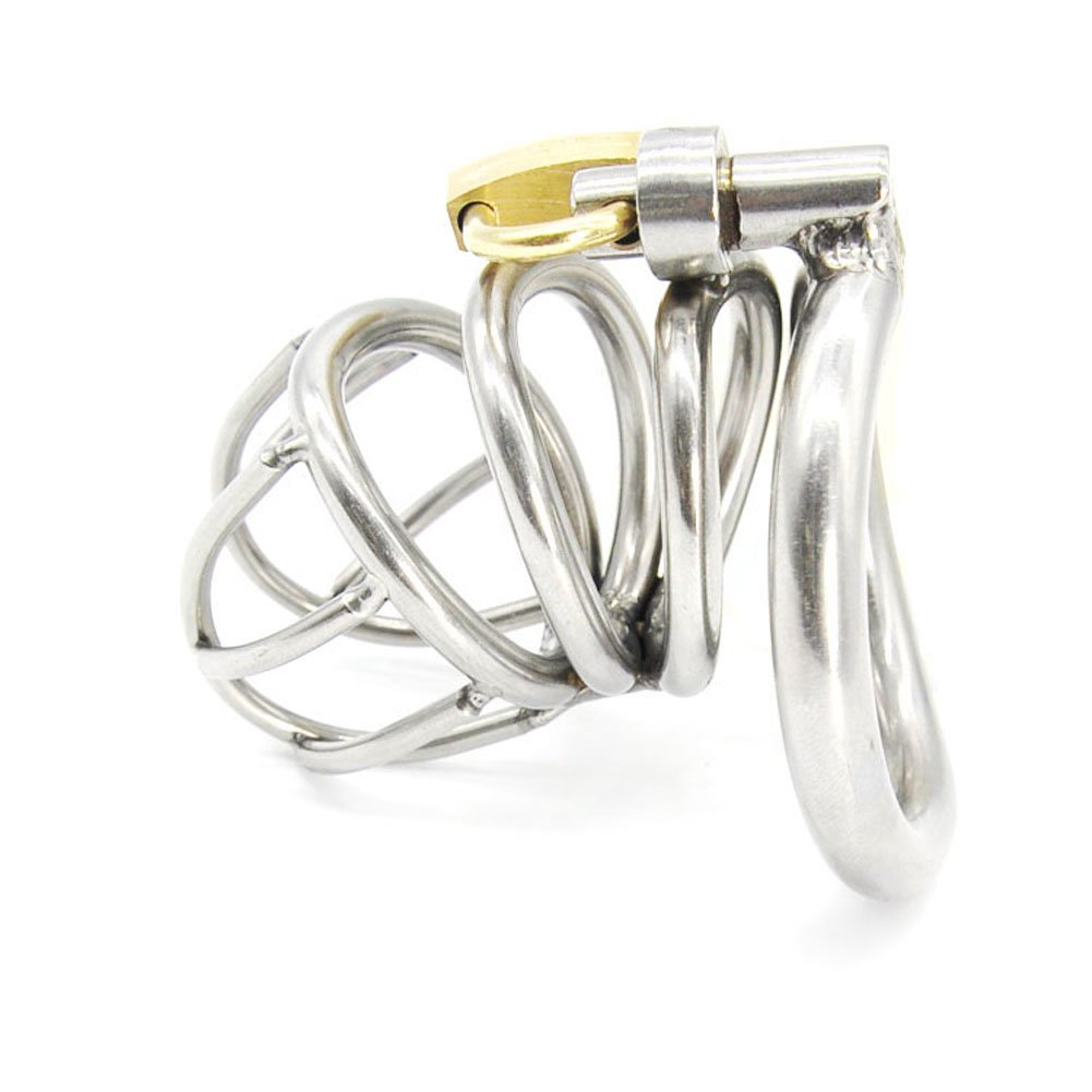 Yocitoy Stainless Steel Male Chasti-ty Device with Ring, Cage length 50mm with 3 Size Rings W2-50