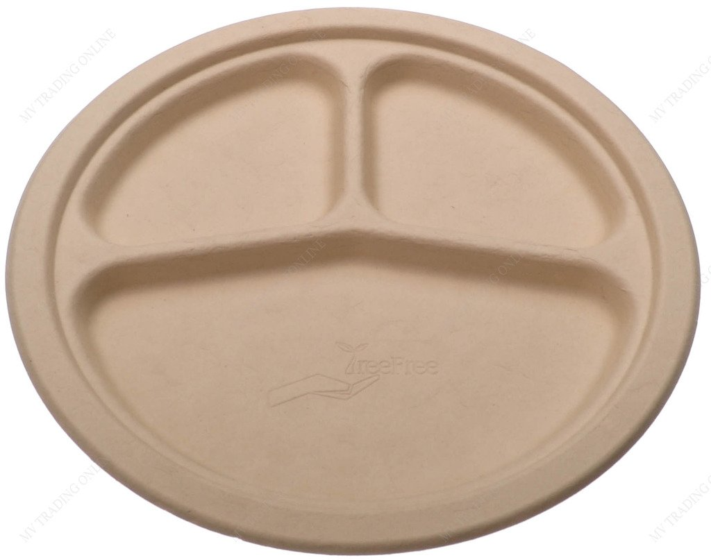 Tree Free Premium Quality Biodegradable Party Dinner Plates, 9-Inches, Triple Compartment, Bundle of 125 Plates by M.V. Trading