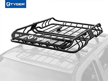 TYGER Heavy Duty Roof Mounted Cargo Basket Rack | L47u0026quot; X W37u0026quot; X  H6u0026quot