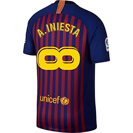 508f29bc51f6e Nike Barcelona Home A. Iniesta Infinity Jersey 2018/2019 (Fan Style  Printing)