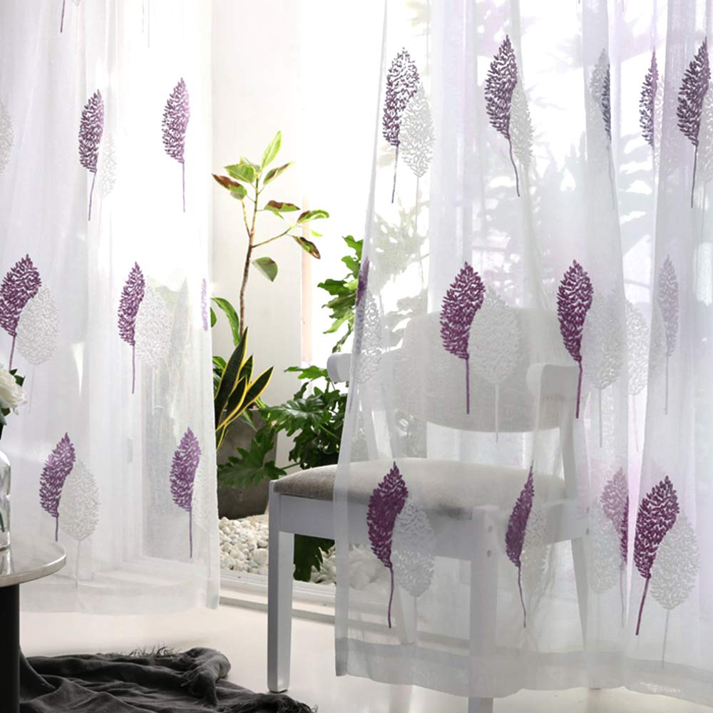 MRTREES Embroidered Sheer Curtains White Leaf Pattern Semi Sheers Rod Pocket Window Treatment Set Drapes Living Room Bedroom 54x84 Inches Long 2 Panels White Leaves