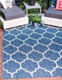 Unique Loom Outdoor Collection Casual Moroccan Lattice Geometric Blue Area Rug (5′ x 8′) For Sale