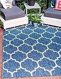 Unique Loom Outdoor Collection Casual Moroccan Lattice Geometric Blue Area Rug (5′ x 8′) For Sale