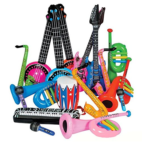Rock Band Instrument Inflate Assortment - 24 Pack - Cool and Fun Inflatable Musical Instruments for Kids - Great Party Favor, Party Bag Stuffer, Giveaways, Novelty Toys