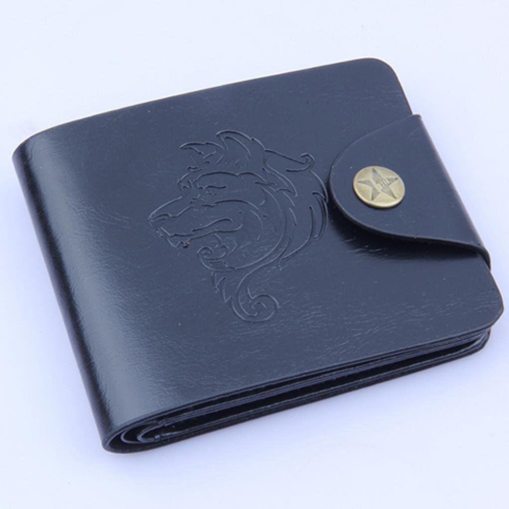 Black HP95 Men Leather Wallet Purse Mens Bifold Wallets with ID Credit Card Case TM