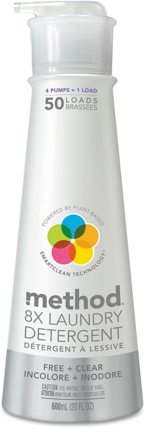 Method 8X Laundry Detergent, Free & Clear, 20 oz Bottle, 6/Carton