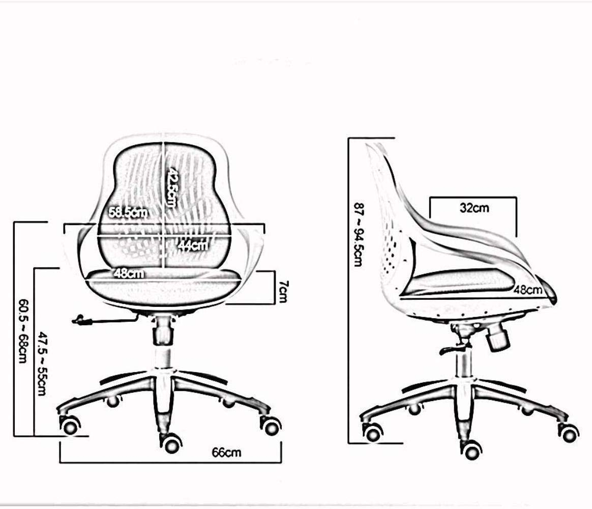 THBEIBEI Kontor skrivbordsstol spelstol datorstol uppgift stol arbetsstol bekväm och avslappnad ryggstöd i ett stycke andningsbar nät bärande vikt 150 kg (färg: svart) Svart