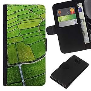 JackGot ( Naturale Campo aerea Verde ) Samsung ALPHA G850 la tarjeta de Crédito Slots PU Funda de cuero Monedero caso cubierta de piel