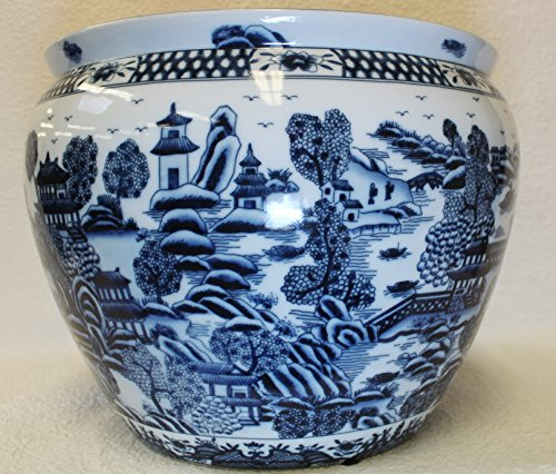 Forgotten City Blue and White Porcelain Fish Bowl 22'' by BlueWhiteVases