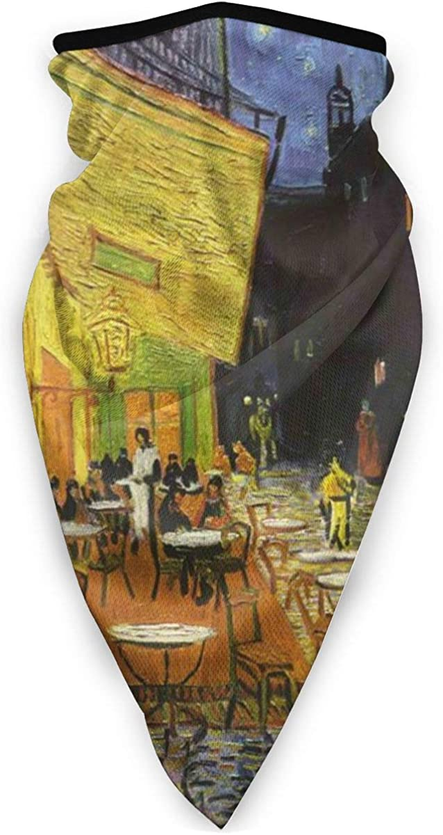 Cafe Terrace At Night By Vincent Van Gogh Unisex Adult Outdoors Windproof Mask Dust Sports Face Mask Half Balaclava Mask Cold Weather Bandana Women Men Festivals Gifts