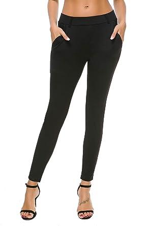 62711b5694 Bamans Women's Yoga Dress Pants Tummy Control Pull On 4 Way Stretch Skinny  Slim Leggings,