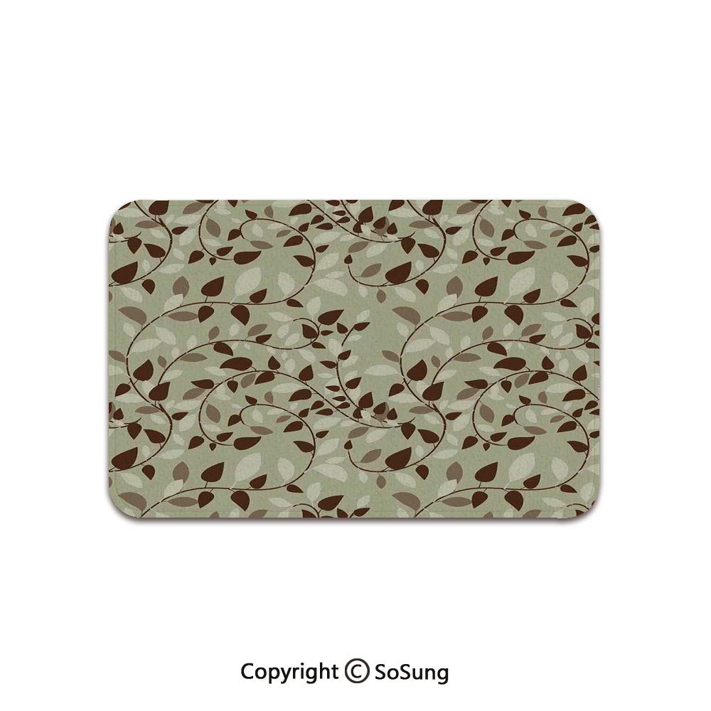Leaves Area Rug,Pattern with Vines Leaves Nature Curvy Branch Plants Garden Floral Art Decorative,for Living Room Bedroom Dining Room,5'x 3',Brown Beige by SoSung