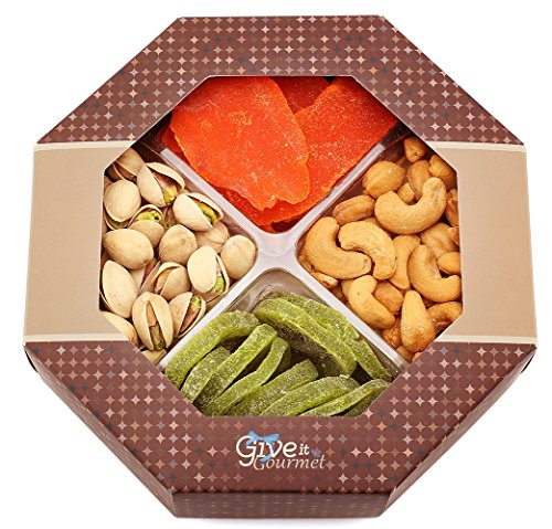 GIVE IT GOURMET, Assorted Dried Fruits and Nuts Holiday Gift Basket (4 Section) - Variety of Delicious Dried Mango, Kiwi, Roasted Salted Pistachios, Cashews - Medium Healthy Valentines Day Gift Tray.