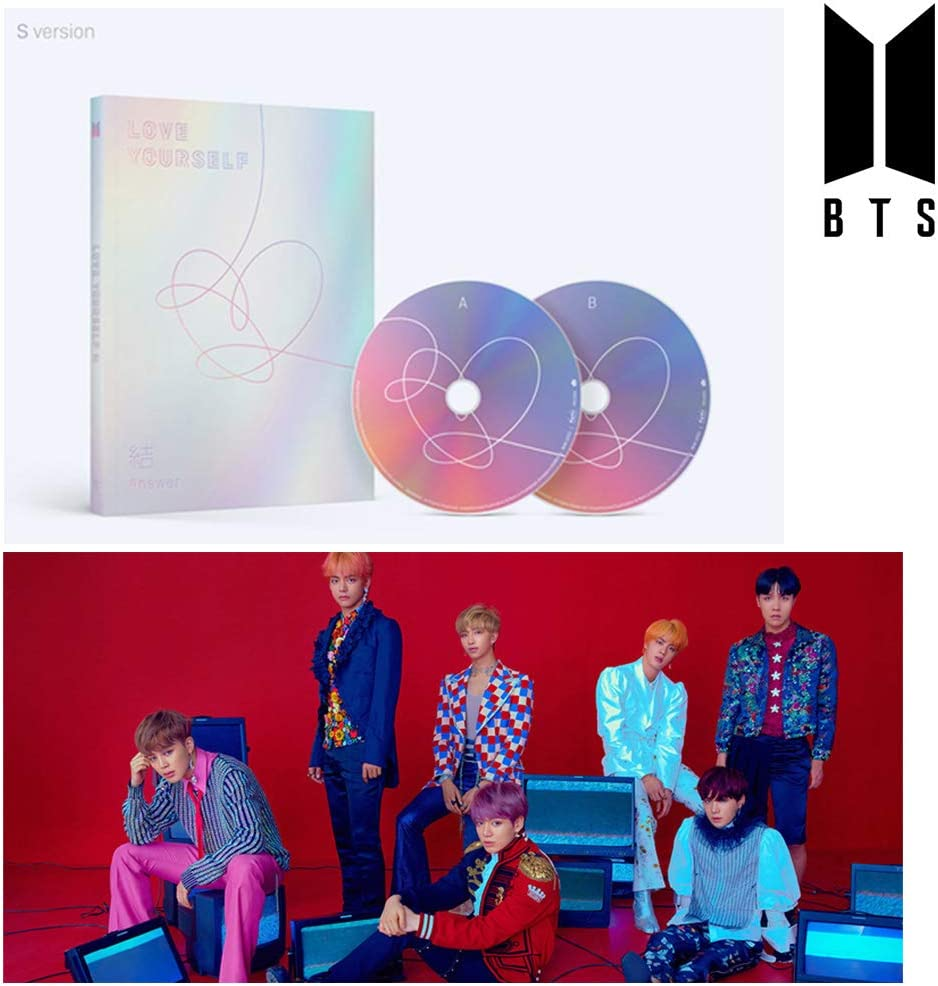 BTS Love Yourself Answer (S Version) Bangtan Boys Album 2CDs+Poster+Photobook+Mini Book+Photocard+Sticker Pack+Gift (Extra 6 Photocards Set)