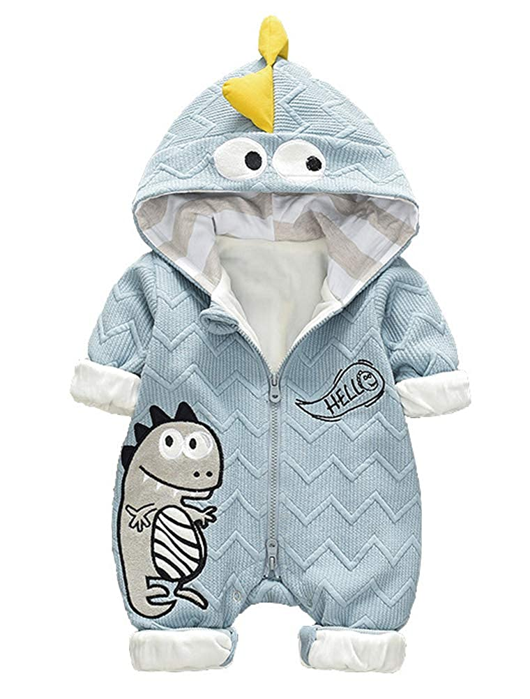 ARAUS Newborn Snowsuit Hooded Jumpsuit Baby Girl Boy Animal Fur Lining Romper Winter Warm Clothes 3-14 Months 8260P10