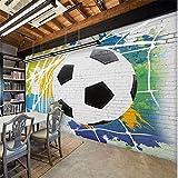 LHDLily 3D Wallpaper Mural Wall Sticker Thickening World Cup Soccer Breakout Fashion Bar Restaurant Background Wall Bar Restaurant Custom 400cmX300cm