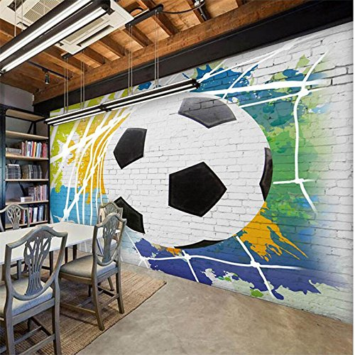 LHDLily 3D Wallpaper Mural Wall Sticker Thickening World Cup Soccer Breakout Fashion Bar Restaurant Background Wall Bar Restaurant Custom 400cmX300cm by LHDLily