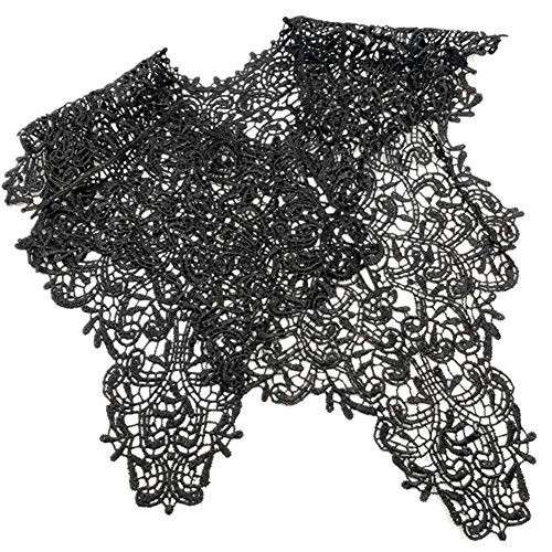 - Vintage Collar Embroidery Lace Front and Back Applique Sewing DIY Clothes Decor - Full Set Black liyhh