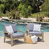 Giselle Outdoor Acacia Wood Club Chairs w/ Water Resistant Cushions (Set of 2) (Set of 2)