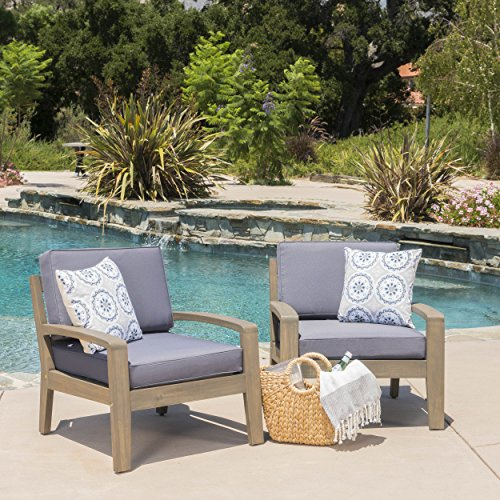 Giselle Outdoor Acacia Wood Club Chairs w/Water Resistant Cushions (Set of 2) (Set of 2)