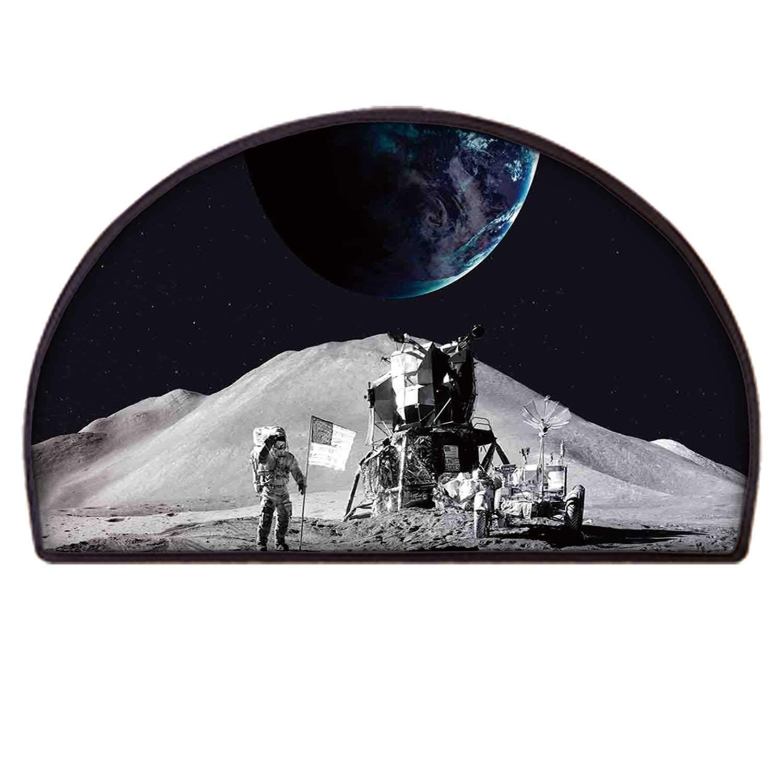 YOLIYANA Outer Space Decor Comfortable Semicircle Rug,Moon US Spaceman Launching on The Exploring Dark Matter Orbit Luna Design for Door by YOLIYANA