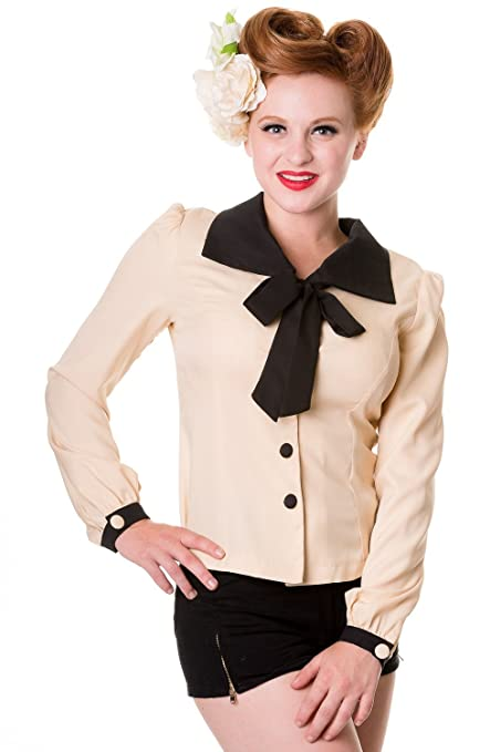 1930s Style Tops, Blouses & Sweaters Cream Black Old School Top Shirt $29.95 AT vintagedancer.com