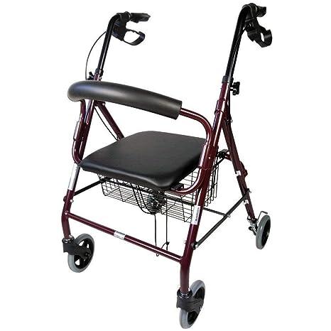Mobiclinic, Andador para ancianos, Aluminio, Plegable, Frenos de maneta, Asiento y respaldo, 4 ruedas, Burdeos, Escorial