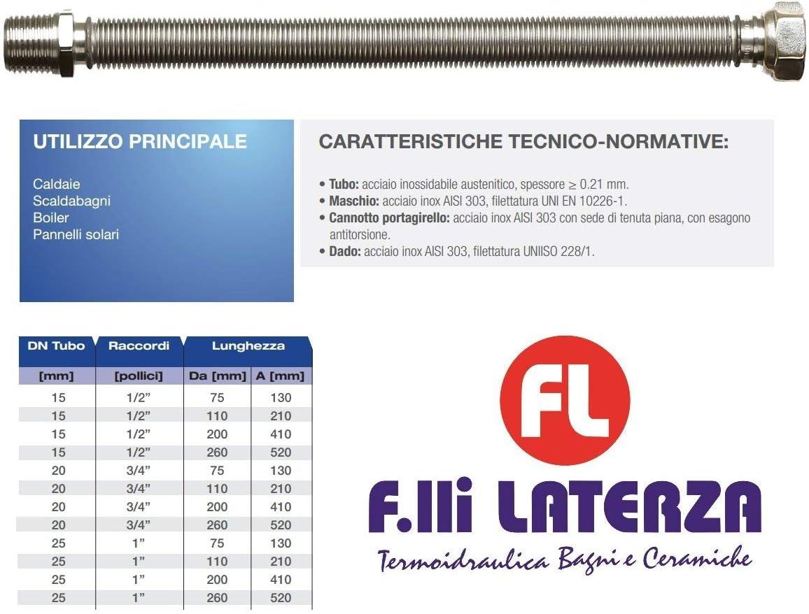 120 x 210 mm ACCIAIO INOX PER GAS RISCALDAMENTO Tubo Gas a Norma UNI 11353:2010 EMIPIU TUBO GIUNTO FLESSIBILE ESTENSIBILE 3//4 DN 20 L MADE IN ITALY ?