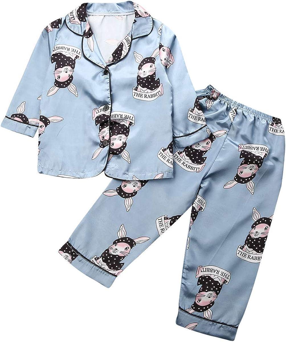 Ameyda Girls Rabbit Long Sleeve Top /& Pants Pajama Set