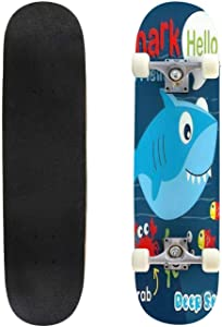 Classic Concave Skateboard Shark Sketch for t Shirt Vector Graphics Monochrome Black and White Longboard Maple Deck Extreme Sports and Outdoors Double Kick Trick for Beginners and Professionals