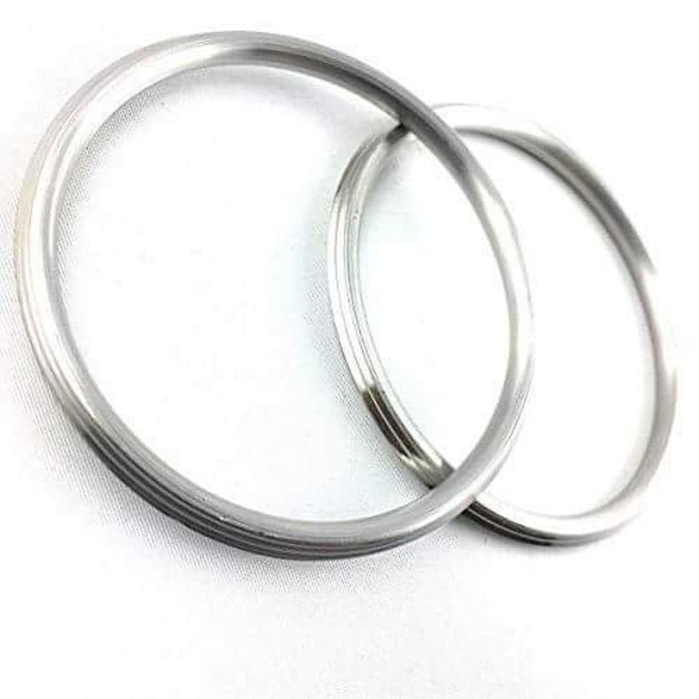 DevDeep (Set Of 2) Punjabi/Sikh STAINLESS Steel Kada/Kara/Bracelet Dia. 6.7 CM-0.5 CM Thick