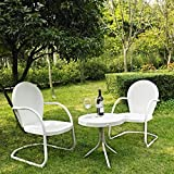 Crosley '3-Piece Griffith Metal Outdoor Conversation Seating Set with Two Chairs', White Finish/White Finish