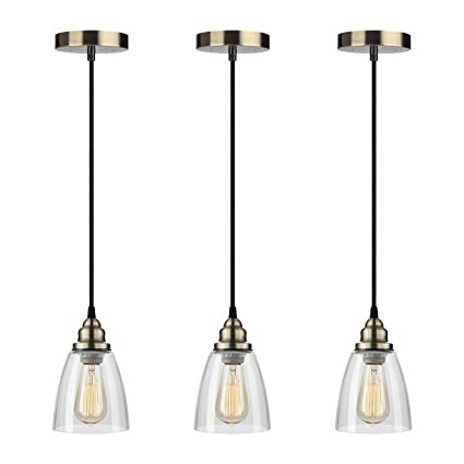 industrial edison mini glass 3 light pendant hanging lamp fixture shine hai modern industrial edison - Hanging Lamp