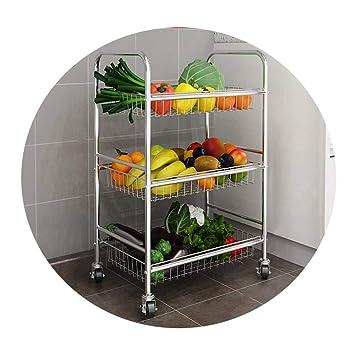JANSUDY Estante De Cocina De Acero Inoxidable 3 Capas Estante De Almacenamiento De Verduras Y Frutas Carrito MóVil: Amazon.es: Hogar