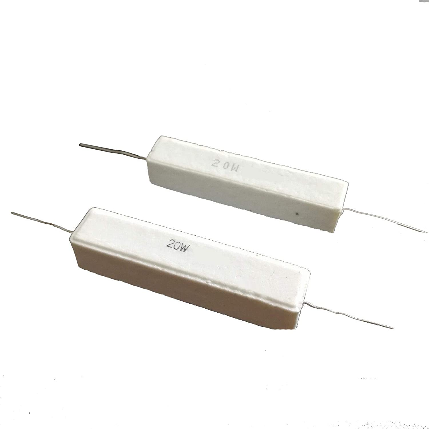 uxcell 20W 4 Ohm Power Resistor Ceramic Cement Resistor Axial Lead White 5pcs