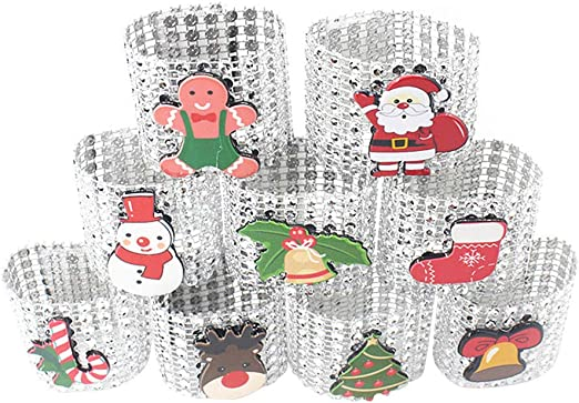 Amosfun 9pcs servilletero servilletero de Navidad con 8 hileras de ...
