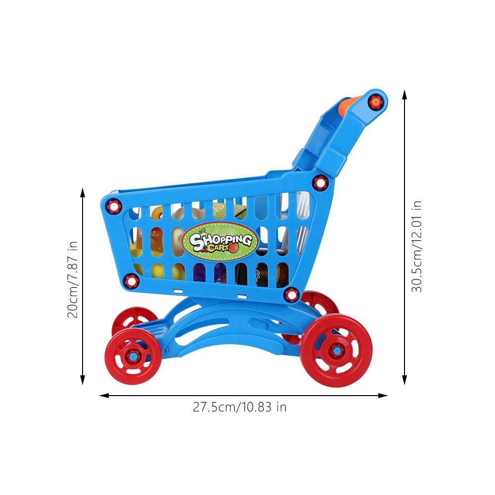 Kids Shopping Cart Precious Toys Kids Toddlers Pretend Role Play Food Fruits Playing Game with Groceries(Blue with Food) by Fdit (Image #2)