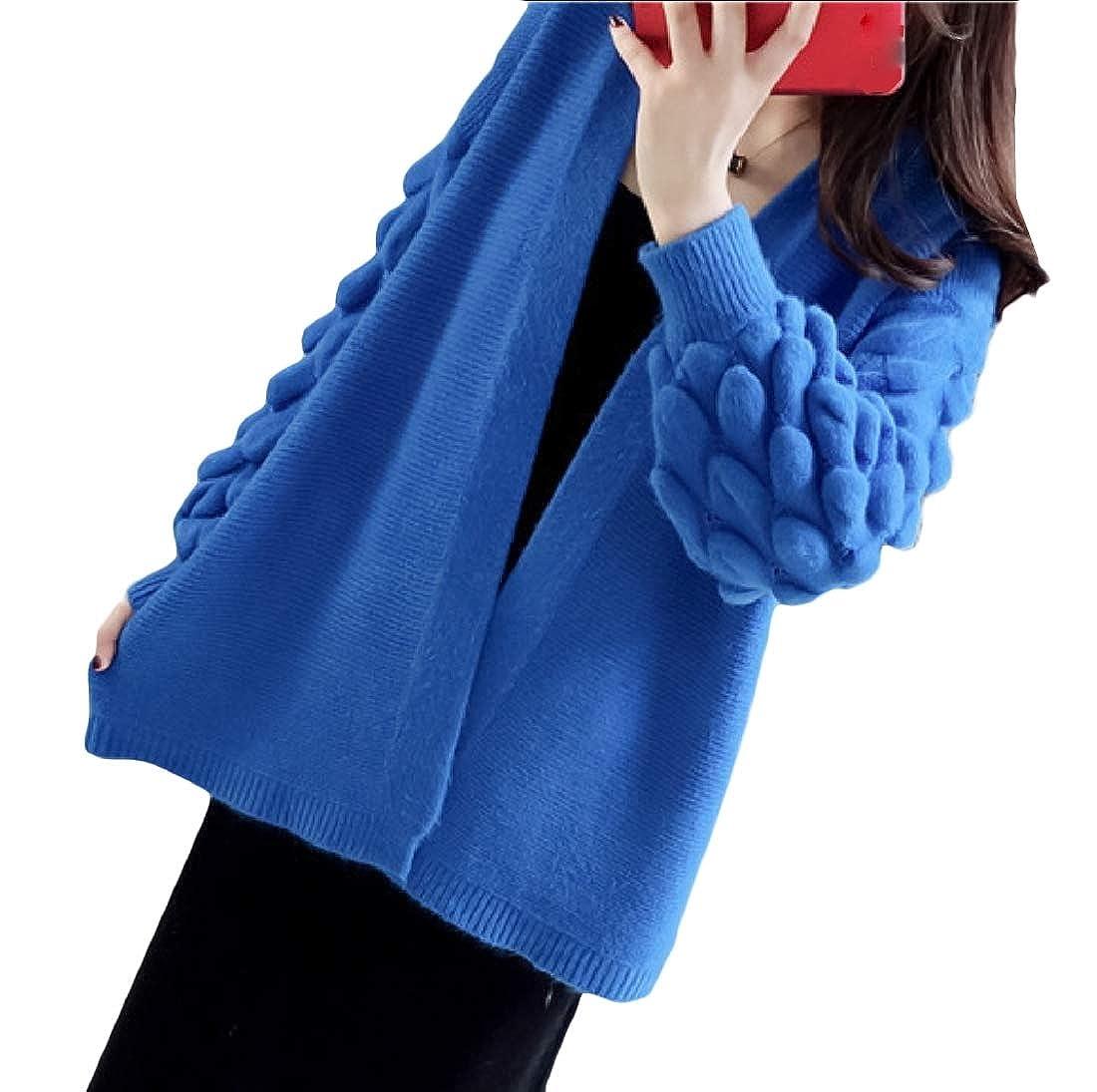 bluee TaoNice Women's Knitwear Open Front Cardigan Soft Sweater Coat