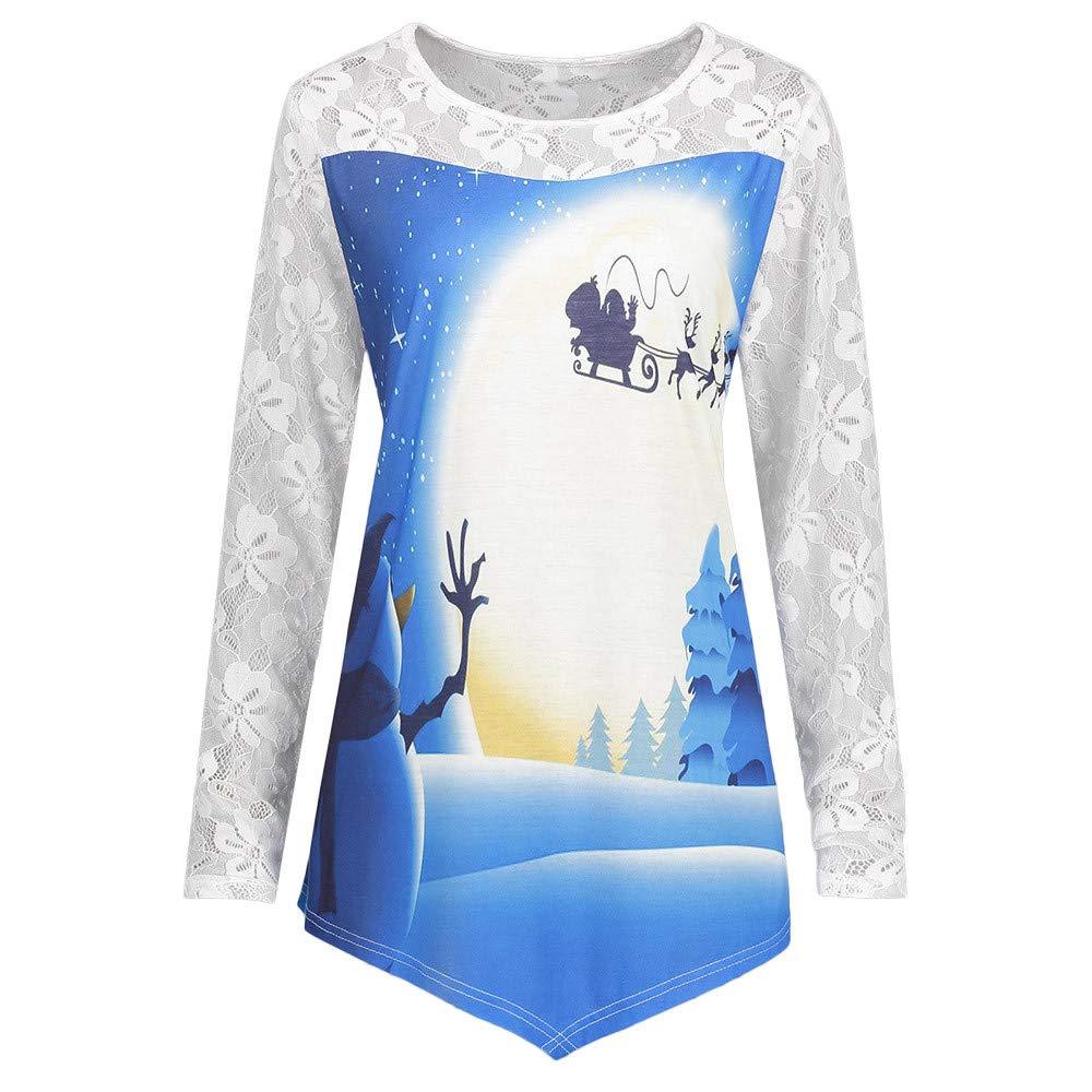 Sinfu Women Christmas Lace Round Neck Printed Irregular Shirt Blouse Blue) Sinfu®