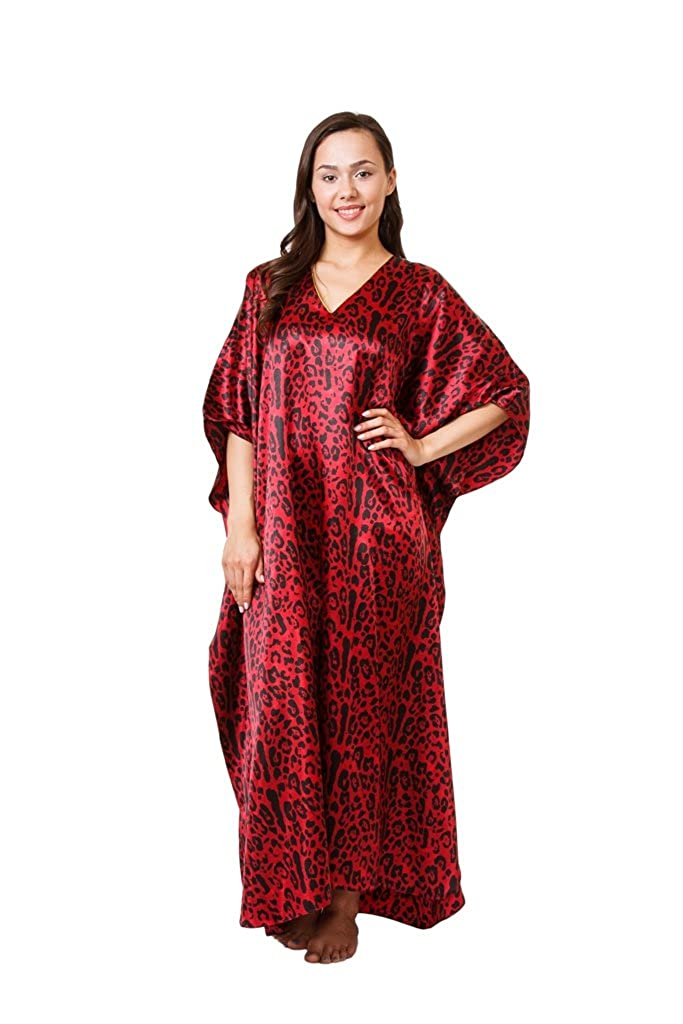 Up2date Fashion Women's Satin Kaftan in Red Tiger Print, One Fits Most, Caf-65 Caf-61