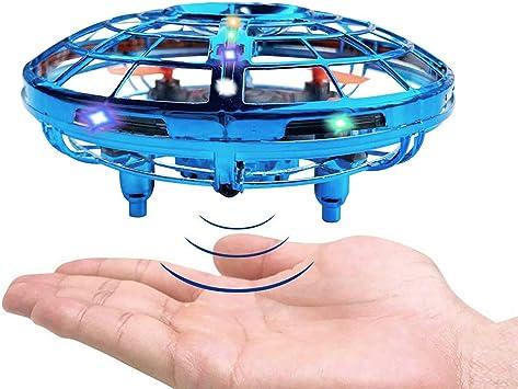 Opinión sobre BRAND SET Versión Mejorada del Mini Drone UFO de Juguete con Luces LED Sensor de Infrarrojos de Juguete Volador Control Manual Juguete Volador Recargable Fácil de Usar-Azul