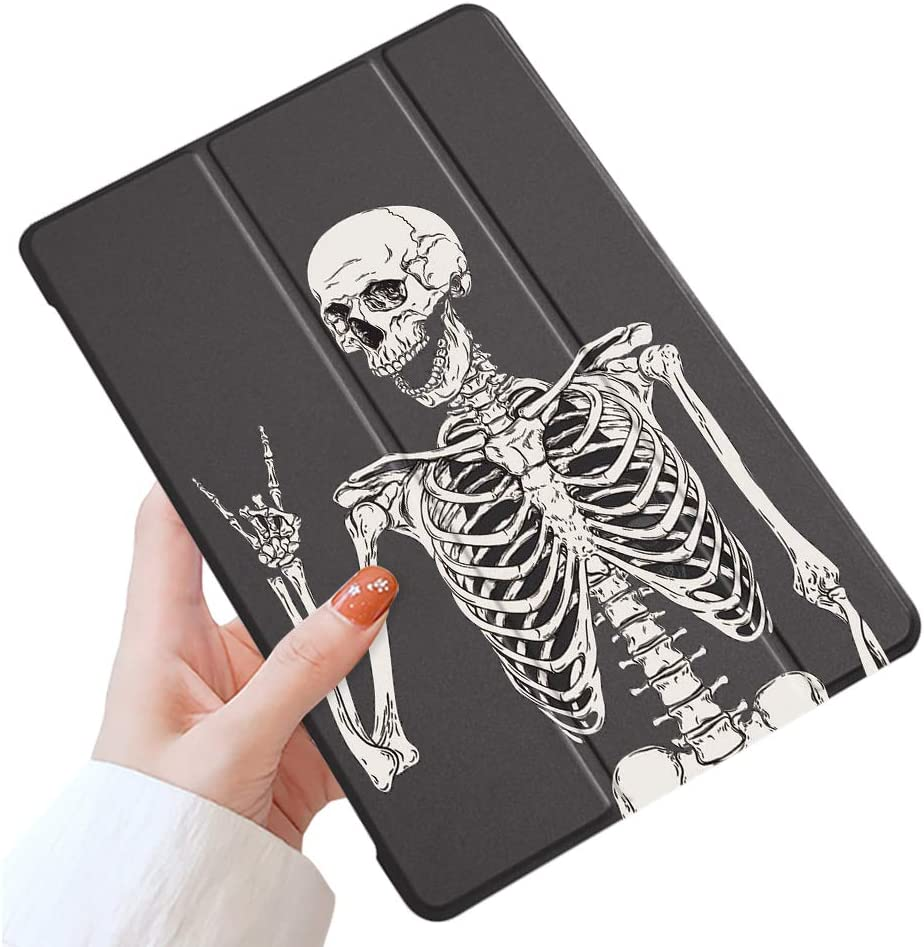 LuGeKe Skeleton Case for iPad 10.2 inch 2019 iPad 7th Generation,Smile Skull Patterned iPad Case Cover,Lightweight Slim Standing iPad Cover for Girls Boys
